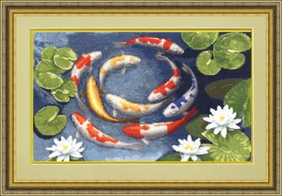 изображение каталога  Набор для вышивания крестом  Карпы кои, Золотое Руно, арт. МГ-013